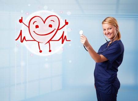 Attractive young doctor with happy red smiling heart photo