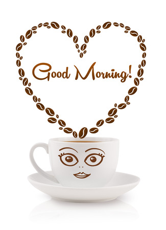 Coffee mug with coffee beans shaped heart with good morning sign, isolated on white Stock Photo - 23160292