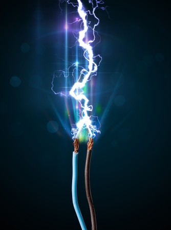 electric shock: Electric cable close-up with glowing electricity lightning