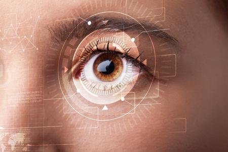 Modern cyber girl with technolgy eye looking photo