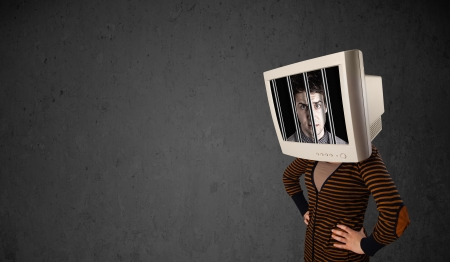 Business man with monitor screen on his head traped into a digital system concept Stock Photo - 23336113