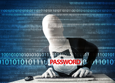 Hacker in morph 3d mask stealing password on futuristic background Stock Photo - 23339998