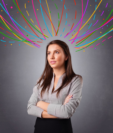 dashhed: Pretty young girl thinking with colorful abstract lines overhead