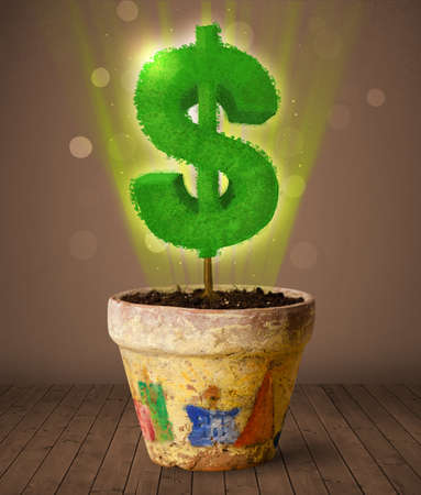 pot of money: Shining dollar sign tree coming out of flowerpot