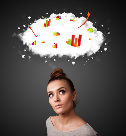 confused woman: Thoughtful young woman with cloud and charts concept