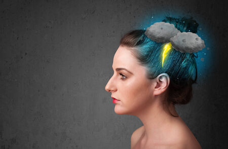 Young girl with thunderstorm lightning headache illustration illustration