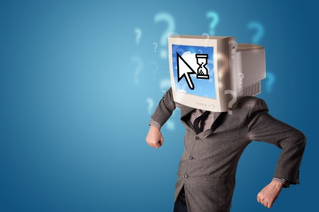 cloud based: Person with a monitor head and cloud based technology on the screen, blue background Stock Photo