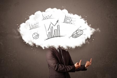 elegant business man: Elegante testa uomo d'affari nube con grafici disegnati a mano concetto Archivio Fotografico