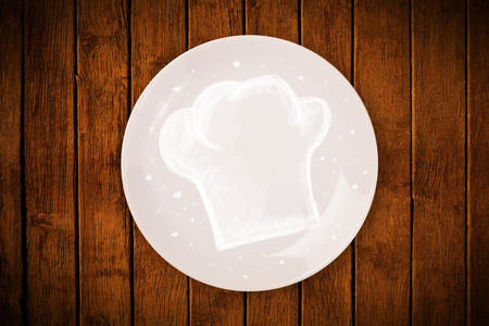 Colorful plate with hand drawn white chef symbol on grungy background photo