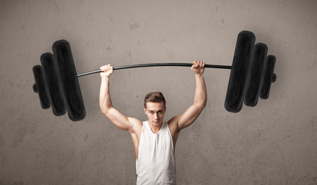 heavy weight: Strong muscular man lifting weights