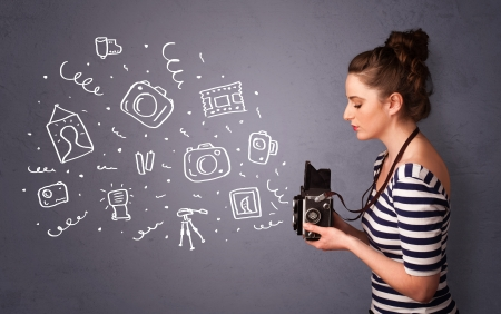 Young photographer girl shooting photography icons photo