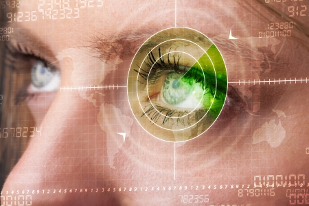 Cyber woman with modern military target eye concept photo