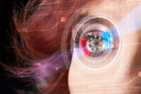 cyber woman: Modern cyber woman with technolgy eye looking Stock Photo