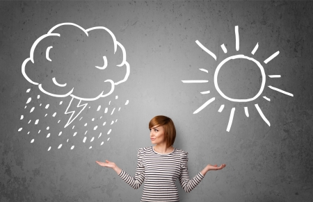 bad weather: Pretty young woman standing and wondering between the sun and rain drawings