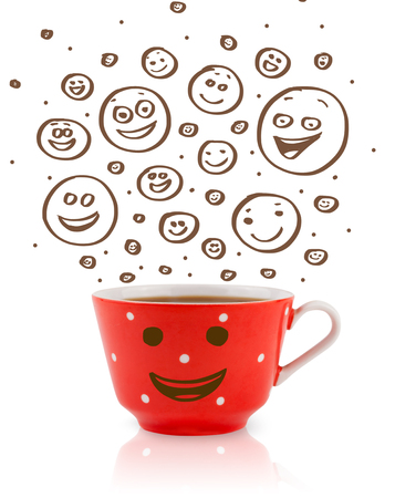 Coffee-cup with brown hand drawn happy smiley faces, isolated on white photo