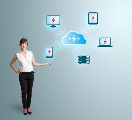 Beautiful young woman presenting cloud computing network Stock Photo - 24118883