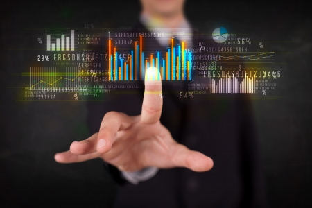 global market: Business person touching colorful charts and diagrams Stock Photo