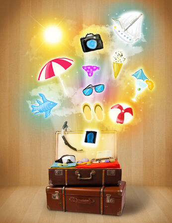Tourist bag with colorful summer icons and symbols on grungy background photo