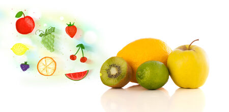 Colorful fruits with hand drawn illustrated fruits on white  photo