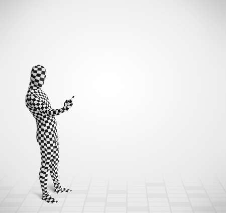 Funny guy in morphsuit body suit looking at empty copy space photo