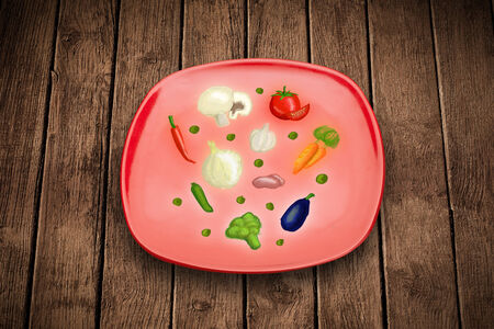 Colorful plate with hand drawn icons, symbols, vegetables and fruits on grungy background photo