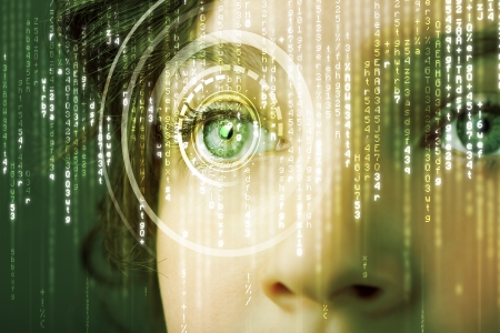 binary matrix: Modern cyber woman with matrix eye concept