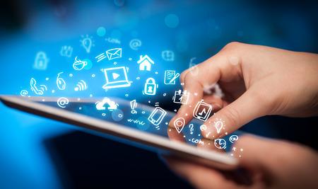 media gadget: Hand touching tablet pc, social media concept