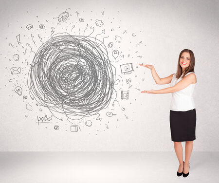 Young business woman with media doodle scribble concept photo