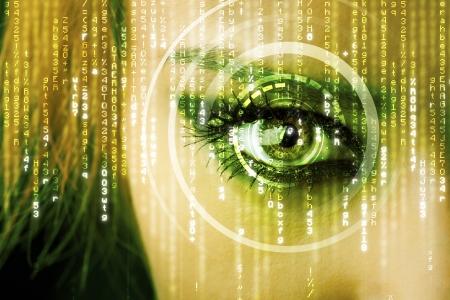 Modern cyber woman with matrix eye concept photo