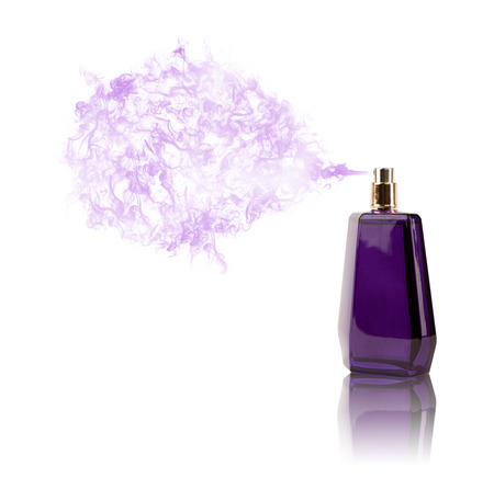 scent: Perfume bottle spraying colorful scent