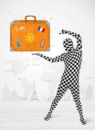 Funny man in full body suit presenting vacation suitcase, tourist attractions in background photo