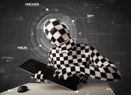 Hacker without identity in futuristic enviroment hacking personal information on tech background photo