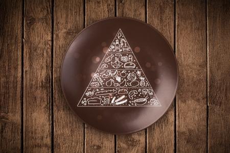 piramide nutricional: Pirámide de los alimentos Dibujado a mano sobre placa plato colorido y sucio