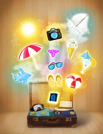 Tourist bag with colorful summer icons and symbols photo
