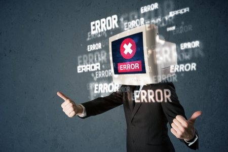 Business man with pc monitor on his head and error messages Stock Photo