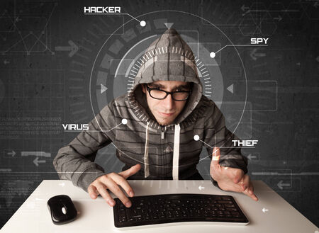 Young hacker in futuristic environment hacking personal information on tech photo