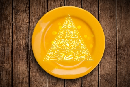 Hand drawn food pyramid on colorful dish plate and grungy photo
