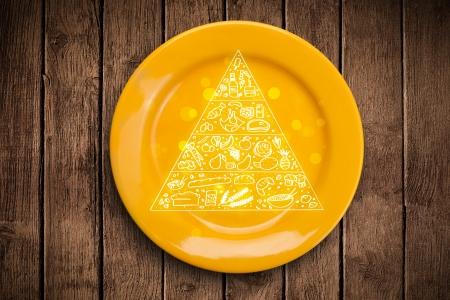 piramide nutricional: Pir�mide de los alimentos Dibujado a mano sobre placa plato colorido y sucio