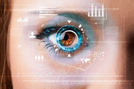 detection: Future woman with cyber technology eye panel concept