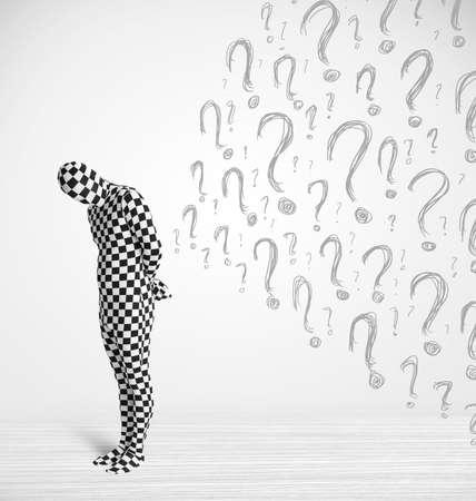 human character: 3D carattere umano � vestito del corpo morphsuit guardando interrogativi disegnati a mano Archivio Fotografico