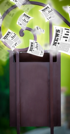Post box with daily newspapers flying out Stock Photo - 24564393