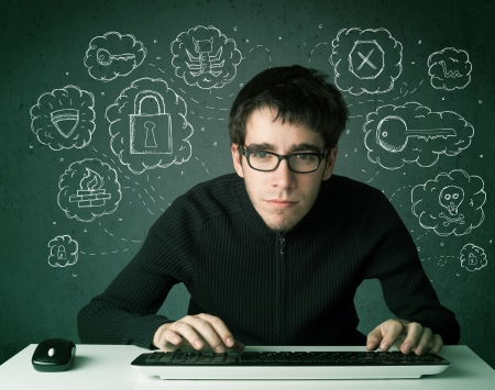 Young nerd hacker with virus and hacking thoughts on green background Stock Photo - 24592526