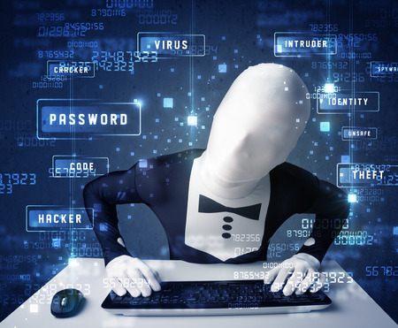 enviroment: Man without identity programing in technology enviroment with cyber icons and symbols