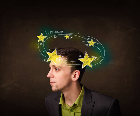 disorganize: Young man with yellow stars circleing around his head illustration