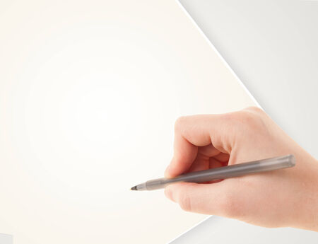 writing a letter: Hand writing on plain empty white paper copy space with pen