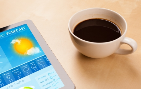 forecast: Workplace with tablet pc showing weather forecast and a cup of coffee on a wooden work table close-up
