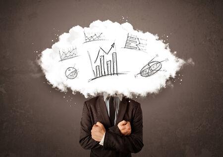 elegant business man: Uomo elegante di affari testa nuvola con grafici disegnati a mano concetto
