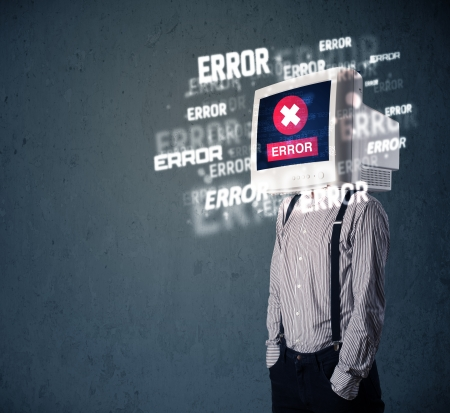 Business man with pc monitor on his head and error messages darker background Stock Photo - 25015968