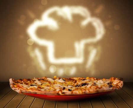 Delicious pizza with chef cook hat steam illustration on wood deck illustration