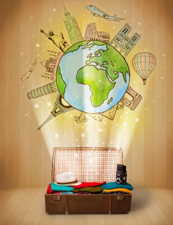 Luggage with travel around the world illustration concept on grungy background illustration